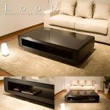 ブラックガラストップリビングテーブル Loob