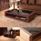 ブラックガラストップリビングテーブル Loob(ウォールナット仕様)
