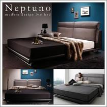 リクライニング機能付き・ファブリック&レザーベッド【Neptuno】ネプトゥーノ