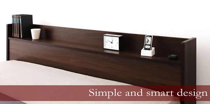 ザ・シンプルデザインヘッドボード搭載ベッド