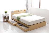 激安価格で販売のナチュラル収納ベッド