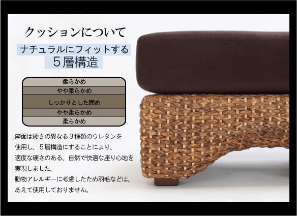 アジアン家具 座り心地の良さの秘密はナチュラルにフィットする5層構造