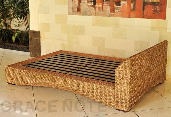 アジアン家具 洗練されたリゾート空間を演出するヒヤシンス素材採用シングルベッド
