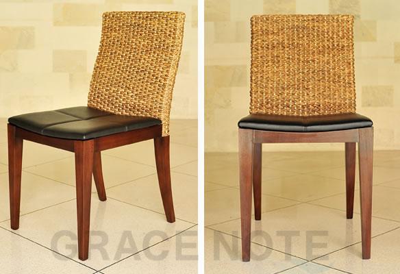 アジアン家具 ヒヤシンスの背もたれが上品な座り心地抜群のレザーチェアー