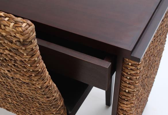 アジアン家具 ウォーターヒヤシンスを贅沢に使った2ドロアーデスク
