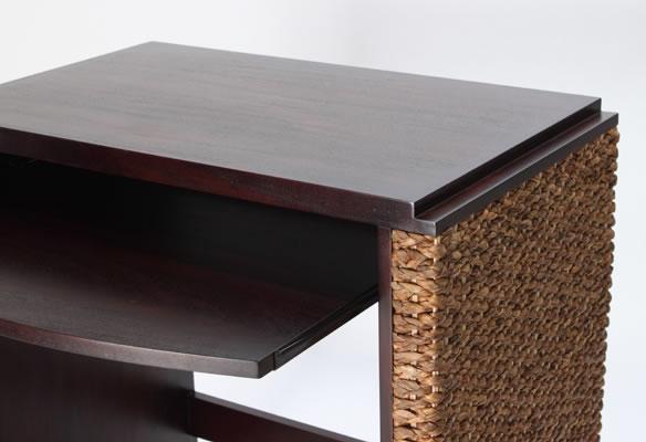 アジアン家具 ウォーターヒヤシンスを贅沢に使ったパソコンデスク