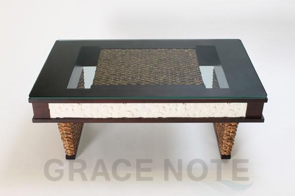 アジアン家具 高級感溢れるストーンカービングローテーブル