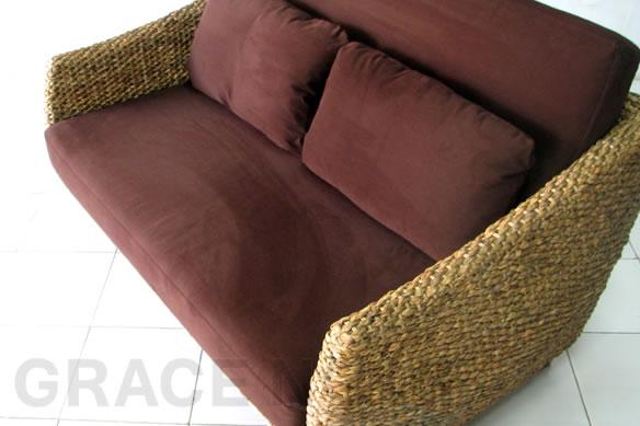 アジアン家具 ウォーターヒヤシンスの美しい曲線が上品な2人掛けソファー