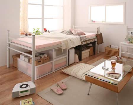 高さが選べるパイプミドルベッド 【SECT】 セクト ベッド下収納