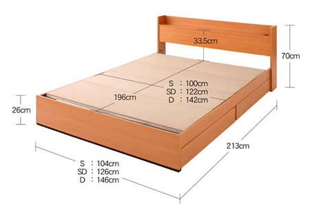 コンセント付き収納ベッド【Ever】エヴァー セミダブル ベッドサイズ