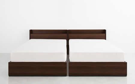 コンセント付き収納ベッド【Ever】エヴァー セミダブル 2台を綺麗に並べることもできます。