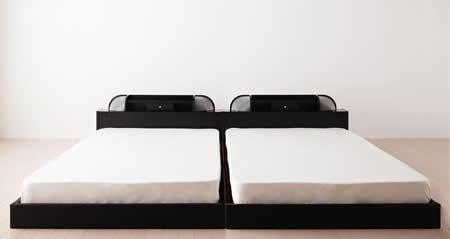 照明・コンセント付きフロアタイプダブルベッド【Diner】ダイナー 2台並べても違和感がありません。