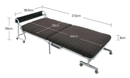 宮付きリクライニング折りたたみベッド【Tars】タルス ベッド時サイズ