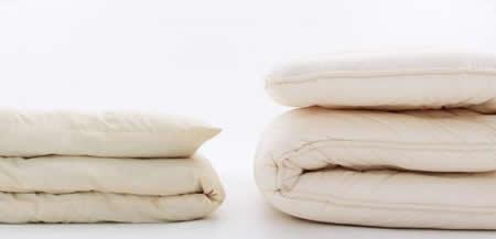 防ダニ・抗菌防臭4層式ボリューム羊毛混敷布団(ダブル) 厚さ比較