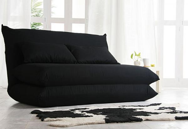 ハイバック ソファーベッド ブラックイメージ