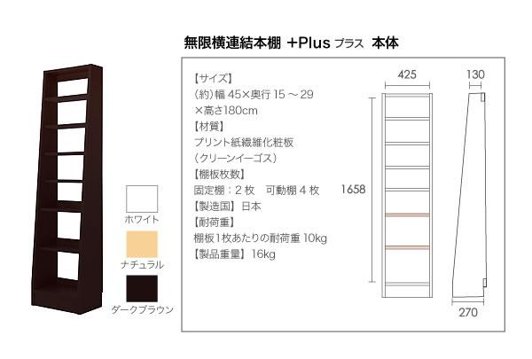 無限横連結本棚【+Plus】プラス 本体+横連結棚4体 セット 説明18
