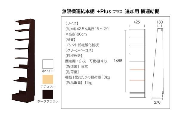 無限横連結本棚【+Plus】プラス 本体+横連結棚4体 セット 説明19