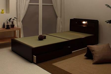 棚照明引出付畳セミダブルベッドA151 ブラウン