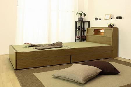 棚照明引出付畳ベッドA151 シングル ライトブラウン