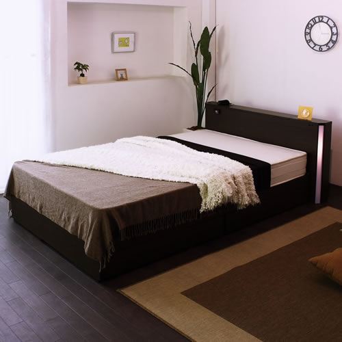 棚コンセント照明引出収納付ベッドA271 セミダブル イメージ