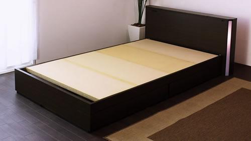 棚コンセント照明引出収納付ベッドA271 セミダブル フレームのみ