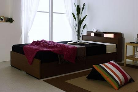 棚W照明引出付ベッド D-22 シングル ブラウン