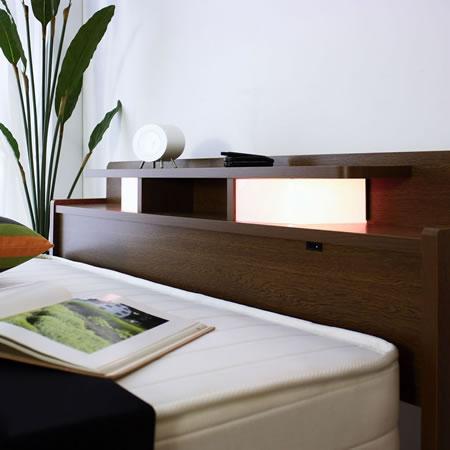棚W照明引出付ベッド D-22 シングル 便利な照明付き