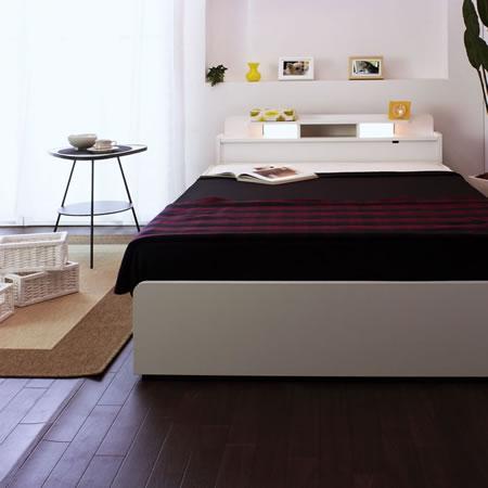 棚W照明引出付ベッド D-22 シングル ホワイト