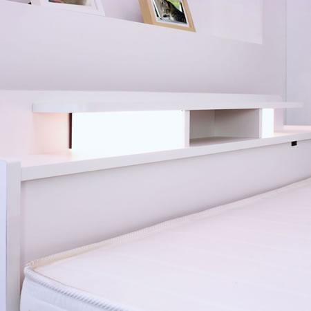 棚W照明引出付ベッド D-22 シングル ホワイトヘッドボードアップ
