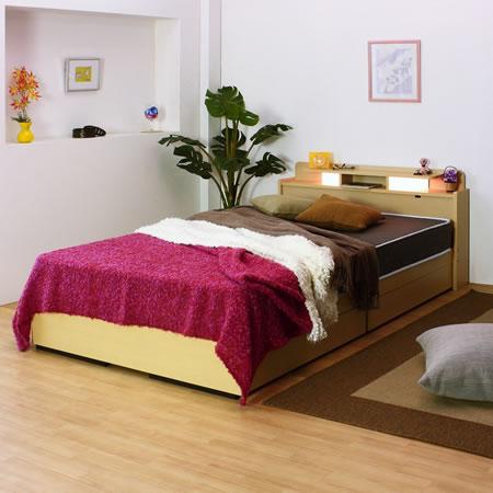 棚W照明引出付ベッド D-22 シングル ナチュラル