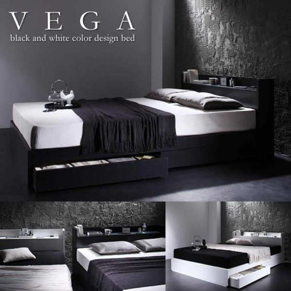 画像1: モノトーンデザイン収納付きダブルベッド【VEGA】ヴェガ