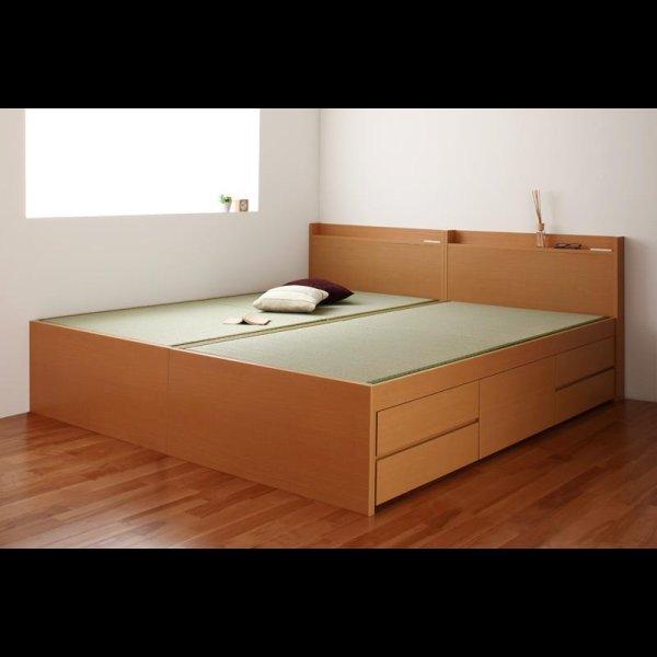 画像2: シンプル&スリム棚付き畳チェストベッド セミダブルベッド