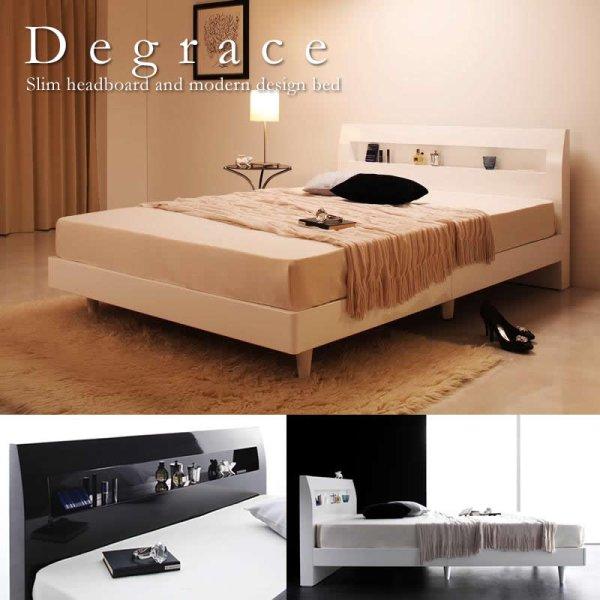画像1: 鏡面光沢仕上げ・コンセント付きすのこ仕様シングルベッド【Degrace】ディ・グレース
