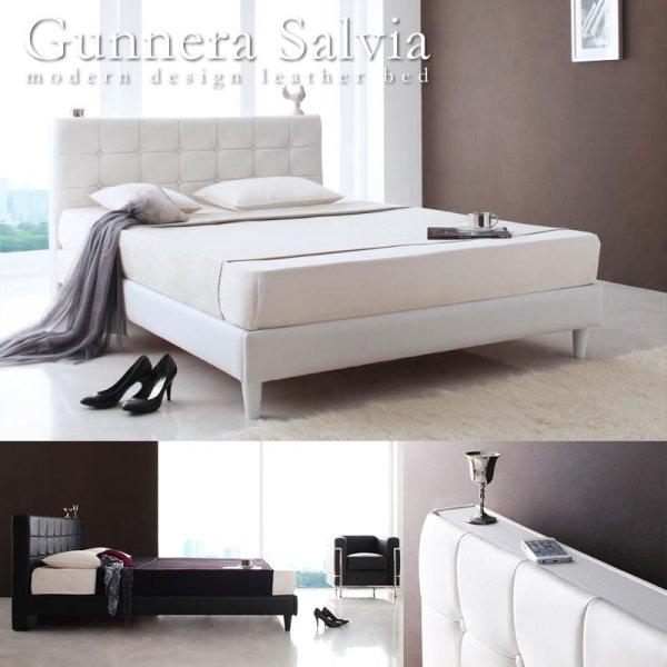 画像1: 高級レザー仕様ダブルベッド【Gunnera】/【Salvia】