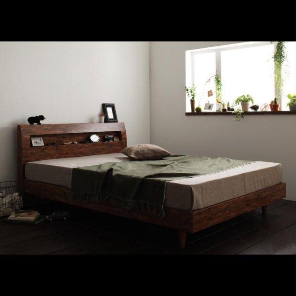 画像2: 棚・コンセント付きユーズドデザインすのこ仕様シングルベッド【Jack Timber】ジャック・ティンバー
