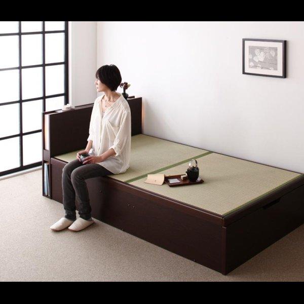 画像2: 照明・棚付きガス圧式跳ね上げ収納畳ベッド【月花】ツキハナ シングル