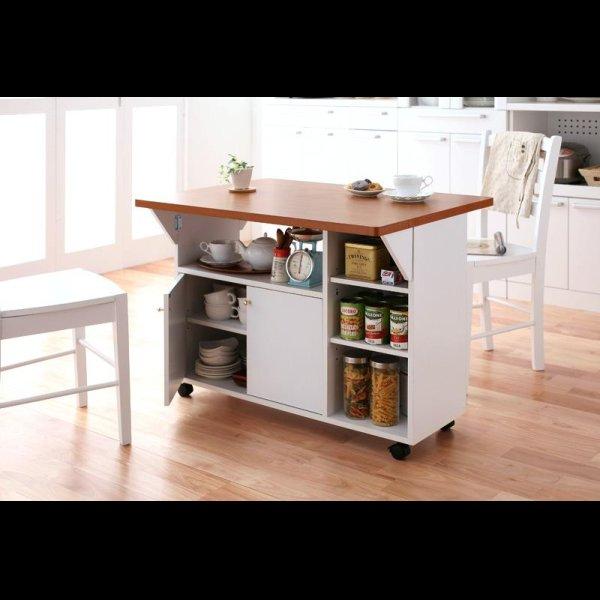 画像1: キッチン収納バタフライカウンターワゴン【clap】クラップ