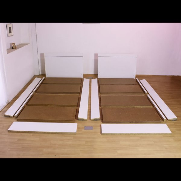 画像4: 日本製連結ベッド モダンデザインパネル シルバーラインベッド 284 セミシングル