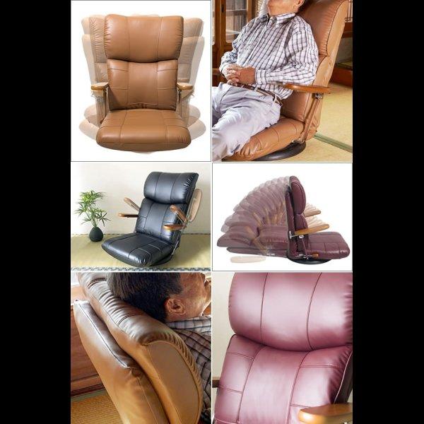 画像2: ハイバック仕様!木肘付き日本製スーパーソフトレザー回転式座椅子【蓮】れん