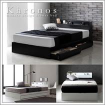 モノトーンデザイン収納付きベッド【Khronos】クロノス