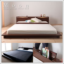 収納庫付きステージデザインクイーンベッド【Moon】ムーン