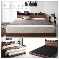布団も使えるコンセント付きロータイプシングルベッド【Hierro】イエロ