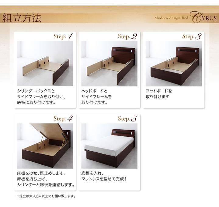 人気のデザイン・機能を取り入れたガス圧式跳ね上げ収納ベッド【Cyrus】サイロスの激安通販