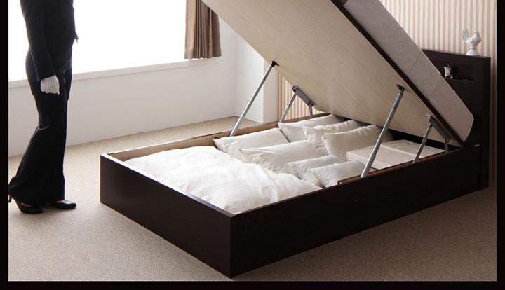 組立設置付き!開閉タイプが選べるガス圧式跳ね上げ大容量収納ベッド【Grand L】グランド・エル 激安通販