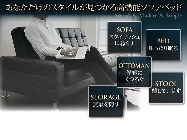 収納付きマルチソファーベッド【MONDO】モンド 説明2