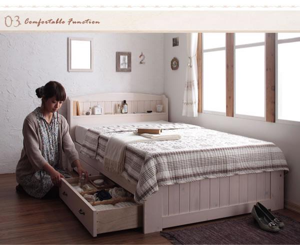女性向け!ショート丈天然木カントリー調コンセント付き収納ベッド【Reine】レーヌ