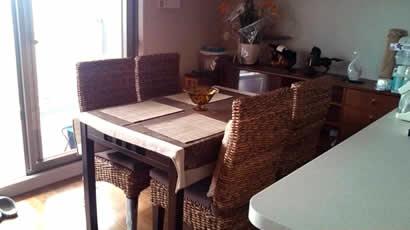 アジアン家具 ダイニングテーブル幅120 バナナリーフチェア4個付きセット