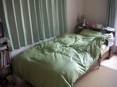 新20色羽根布団8点セット(ベッドタイプ・シングル) (カラー: モスグリーン)  お客様のお部屋