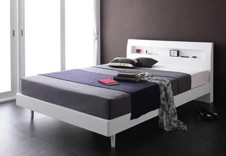 棚・コンセント付きデザインすのこ仕様シングルベッド【Alamode】アラモード ホワイト