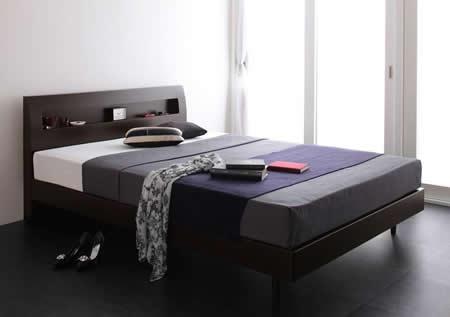 棚・コンセント付きデザインすのこ仕様シングルベッド【Alamode】アラモード ウェンジブラウン